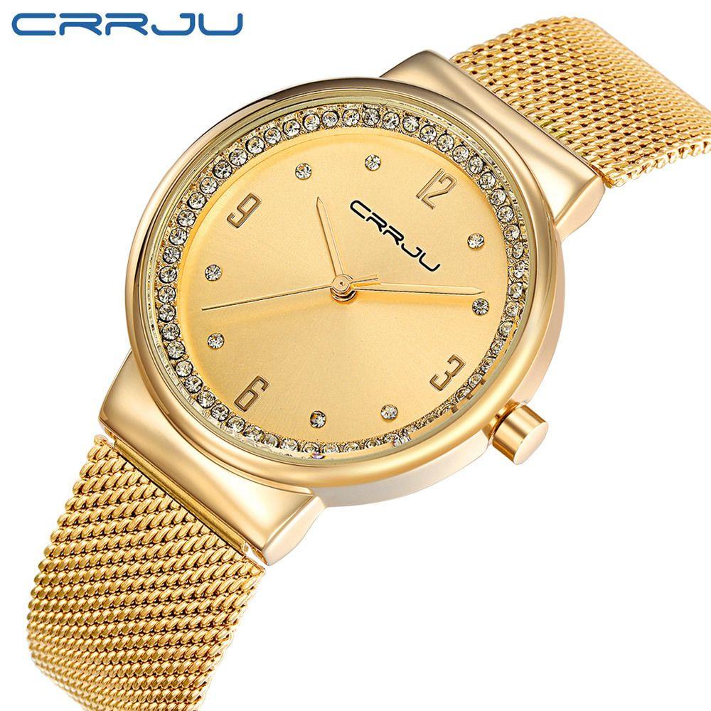dc02e173b4bcb Compre Crrju Marca De Aço De Luxo Relógio De Quartzo Moda Feminina Strass  Relógio Feminino Ladies Golden Dress Relógio De Pulso Presente Relogio  Feminino De ...