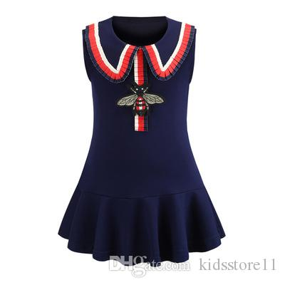 f0bd8c833a22 Girls Dress New Kids Bees Embroidery Cotton Princess Dresses ...