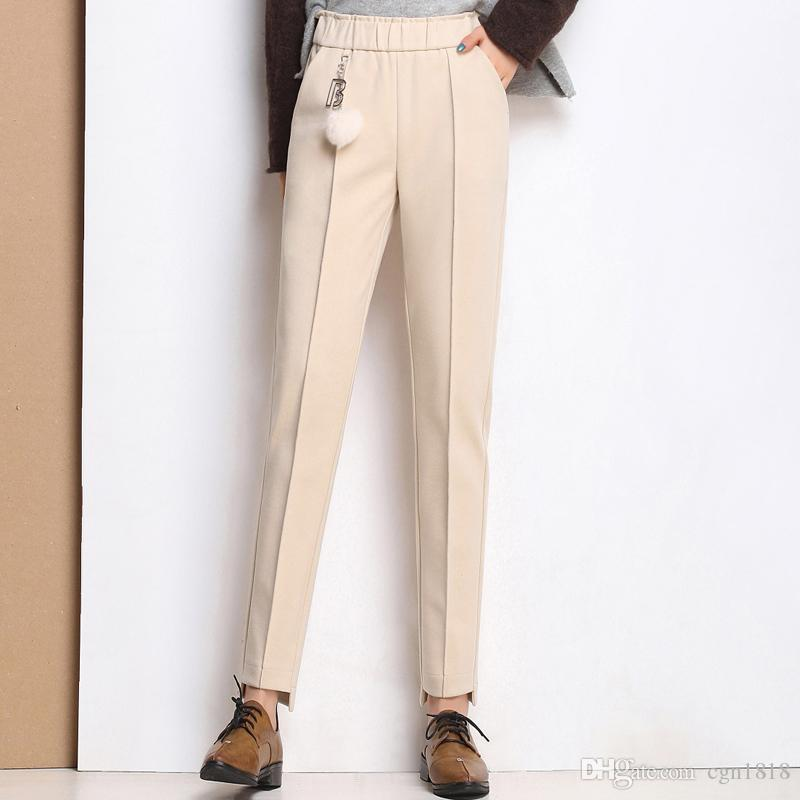 98990b91938a 2019 Woolen Harem Pants Women S Winter New High Waist Elastic Elastic Waist  Korean Version Of The Trousers Loose Woolen Pants From Cgn1818
