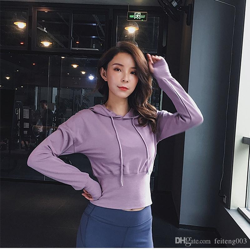59d575be 2019 Short Sexy Navel Waist Sports Shirt Women Long Sleeves Loose Slim  Running Sweater Hooded Fitness Jacket Yoga Running Tops #604259 From  Feiteng003, ...