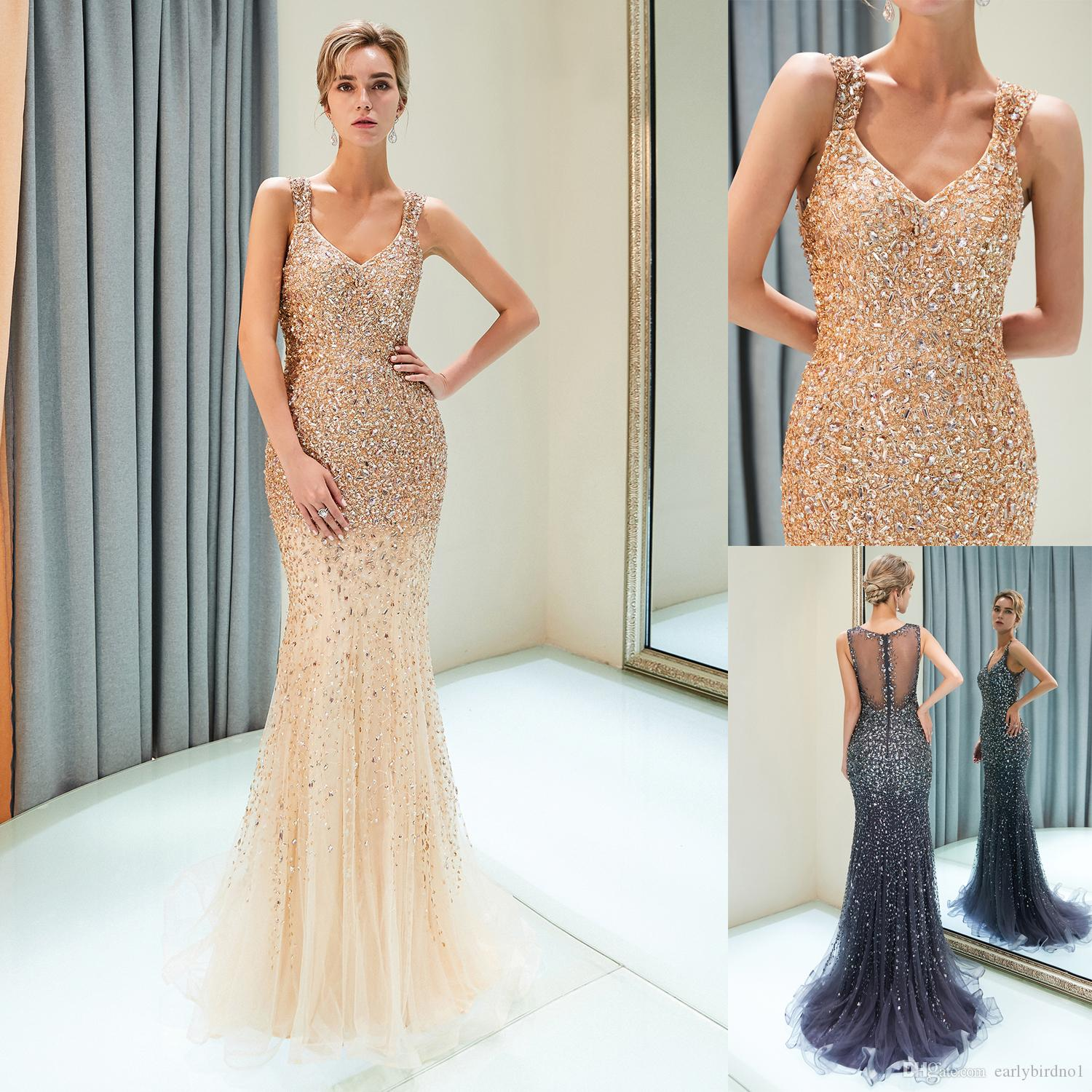Luxury Beaded Gray Gold Mermaid Prom Dresses Tulle Sweep Train Wedding  Bridal Gown Straps Formal Evening Wear CPS1176 Gowns And Dresses Jessica  Howard ... 838dd609de9a