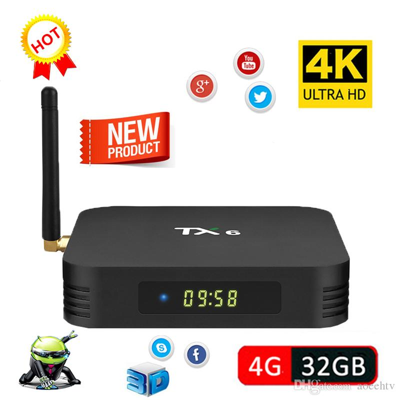 TX6 4GB RAM 32GB ROM Android 7 1 TV Box Allwinner H6 Quad Core Media Player  2 4G 5G Wifi Bluetooth 4 1 4K HD Smart Set Top Box IPTV BOX