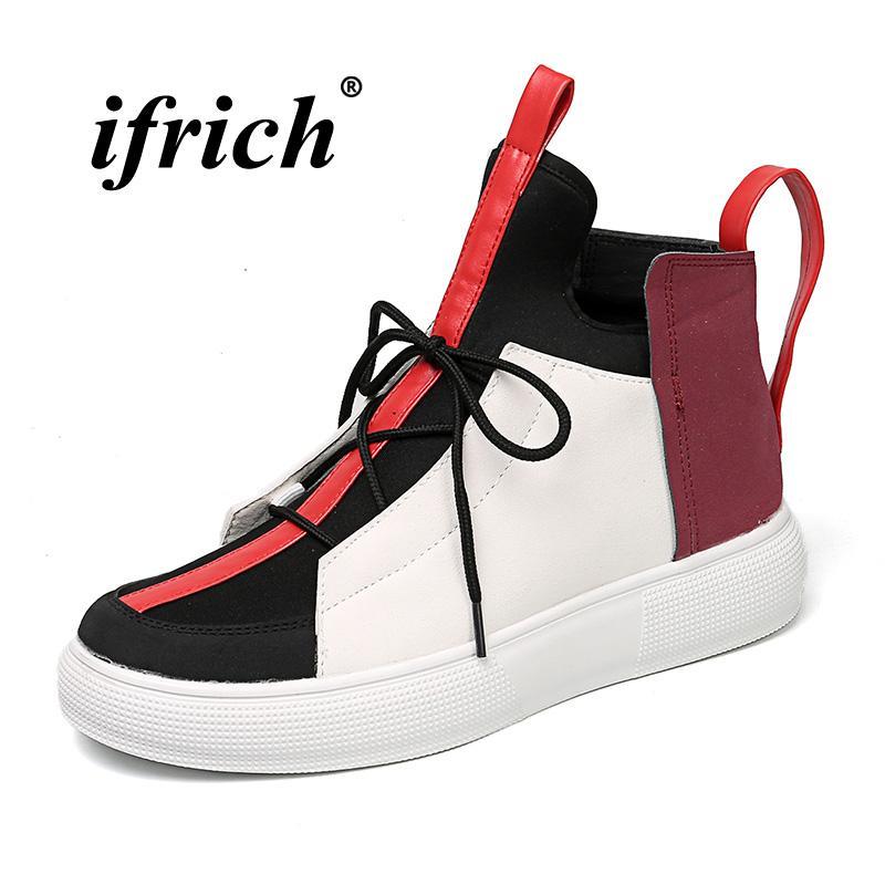 4632d8dac4 Compre Hombres Populares Zapatos Casuales Para Jóvenes High Top Para Hombre  Calzado De Moda Antideslizante Para Hombre Zapatos Casuales Originales  Negro ...