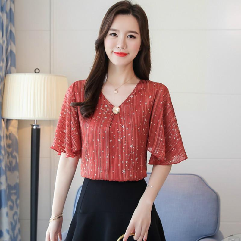 99f2e015177 2019 Blusas Mujer De Moda 2019 Flare Sleeve Feminine Tops 4XL Women Tops  Ans Blouses Womens Tops And Blouses Print Star D644 30 From Angelyanyan