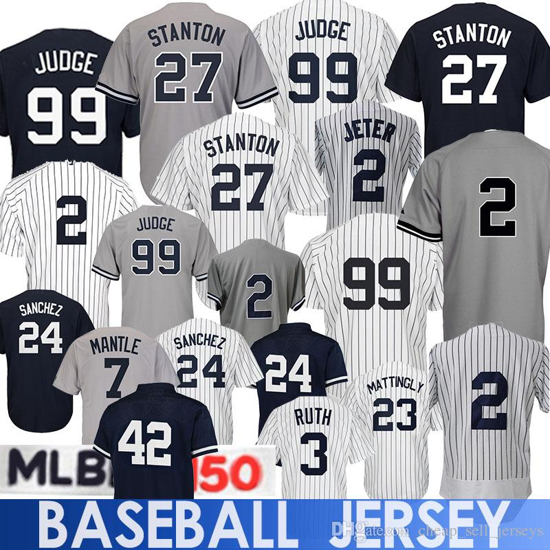 99b601f32c5f Compre 99 Aaron Judge Jersey Yankees 23 Don Mattingly Babe3 Ruth Mickey7  Manto Mariano 42 Rivera Bernie 51 Williams Camiseta De Béisbol A $23.5 Del  ...