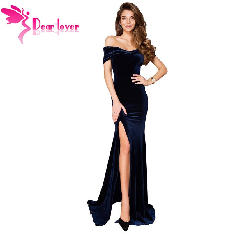 02567294e17 New 2019 Women Sexy Dark Blue Off Shoulder Side Slit Velvet Maxi Party Dress  Sheath Bodycon Vestidos Robe LC611046 Sexy Evening Dresses Short White  Dresses ...
