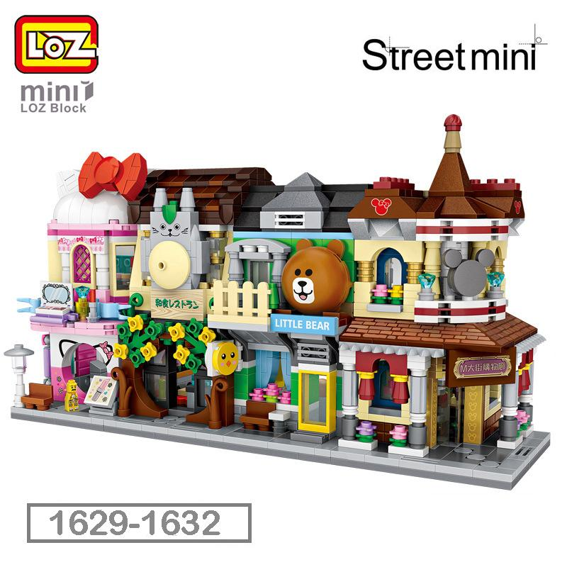 Cartoon Home Decoration Scene View Building Blocks Models Bricks Figures Toys