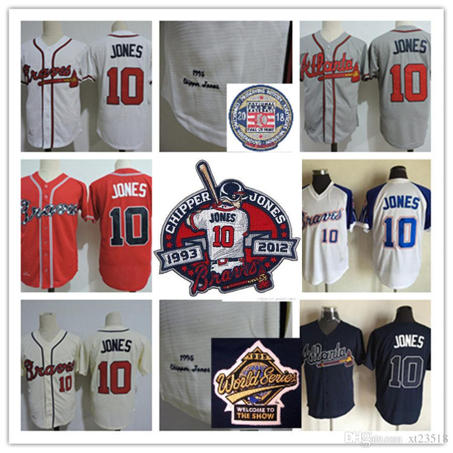 new arrival 7f253 599e0 Mens #10 Chipper Jones 2018 HOF patch Jerseys Stitched White Red Cream Gray  #10 Chipper Jones 1995 WS Retirement patch Jersey S-3XL