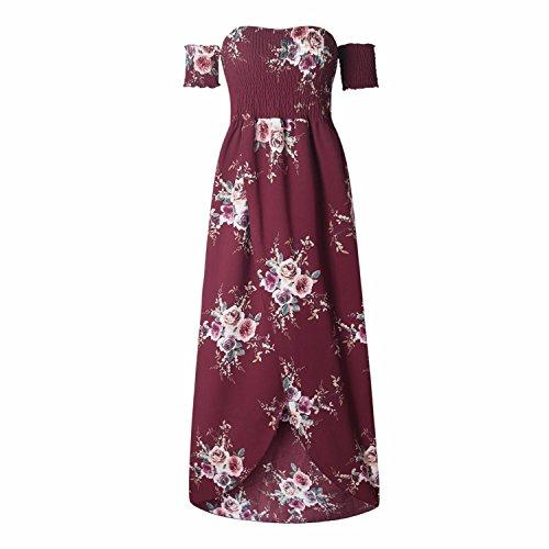 b26fc2547465 Women s Boho Style Off Shoulder Chiffon Long Dress Summer Beach Floral  Print Split Party Maxi Dress Long Dresses