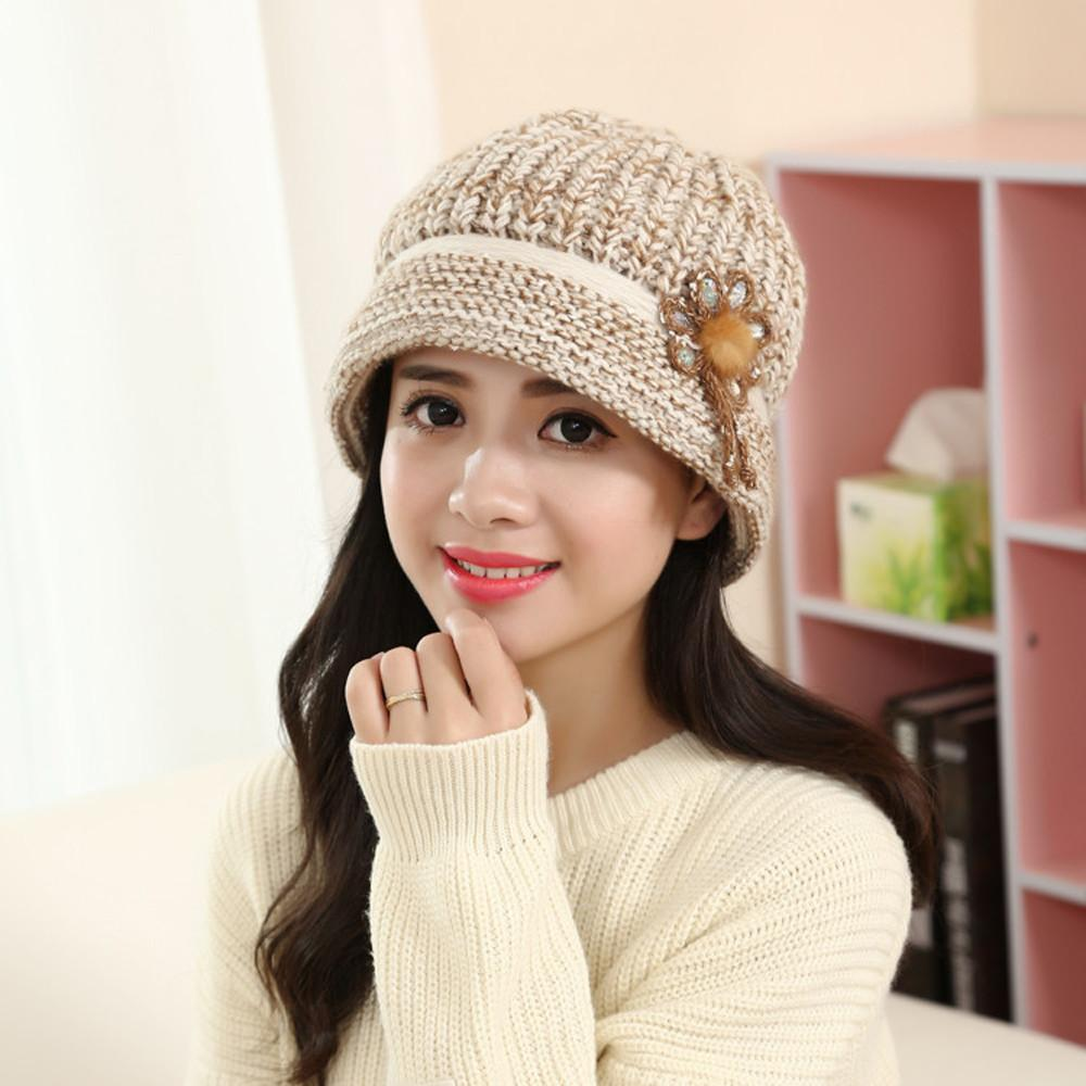 Women S Warm Hat Fashion Womens Flower Knit Crochet Beanie Hat Winter Warm  Cap Beret Knit Dames Gebreide Muts  503 Summer Hats Funny Hats From  Watcheshomie 7542c0824