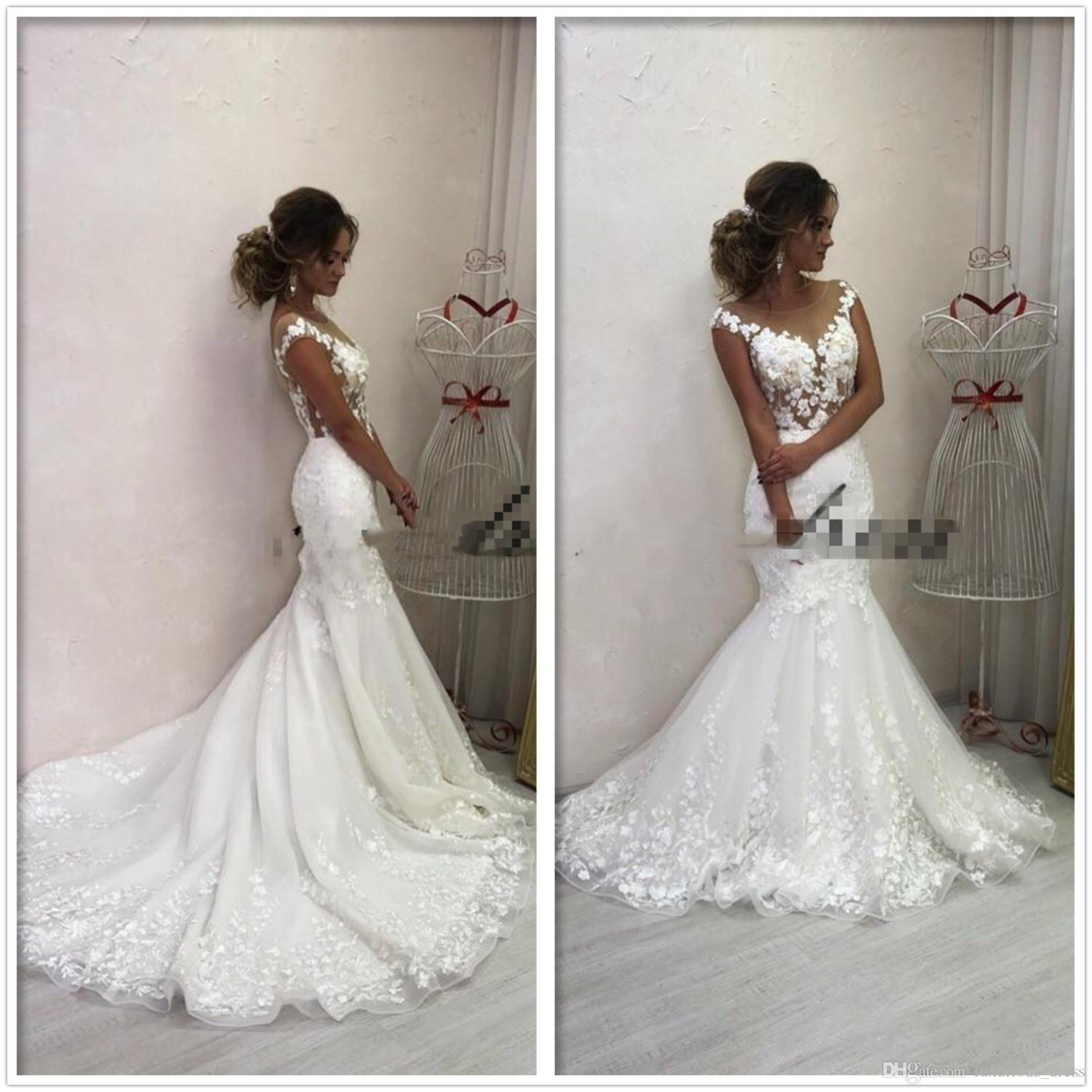 Romantic Mermaid Wedding Dresses 2019 See Through Backless Sweep Train Appliques Garden Country Arabic Bridal Gowns vestido de novia 2K19