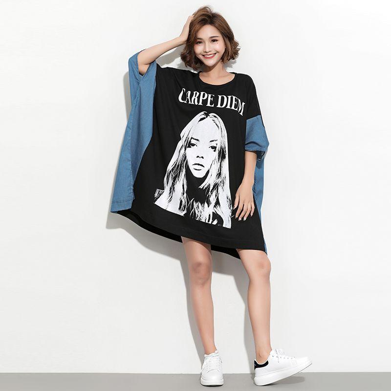 35ba25cc376ff 2019 Oversized Plus Size Women Shirt Dress Female Fashion Girl Print Loose  Large Dresses Summer Casual Top Tee Tunic Vestidio Floral Sundress Women  Summer ...