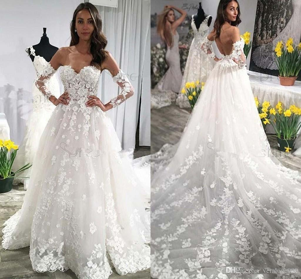 72573443da Discount Lace Wedding Dresses With Long Sleeves Sweetheart Backless Wedding  Dresses Sexy Long Train Beach Bridal Gowns Tea Length Wedding Dresses  Wedding ...