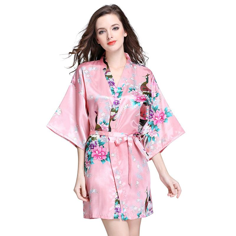 49ffcd34eb4f 2019 Summer Silk Robes For Women Japanese Kimono Printed Robe Bathrobe  Sleepwear Pyjamas Loungewear From Vinceena