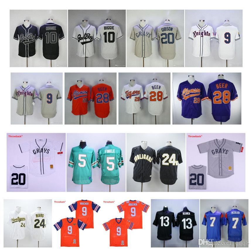9 Bobby Boucher The Waterboy 5 Ray Finkle L'Ace Ventura Jim Carrey 20 Josh Gibson Homestead Gris 13 Willie Beamen Movie Baseball Jerseys