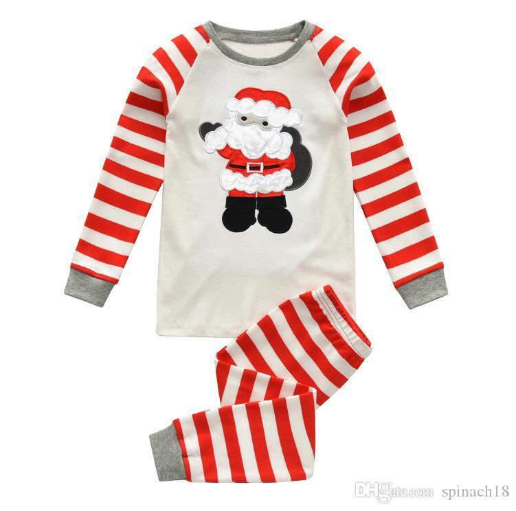 ce06d6e684d4e New Europe Christmas Baby Set Cotton Pajamas Santa Claus Kids Boys Girls  Stripe Tops T-shirt + Pants Children Home Wear Outfits Set 4399