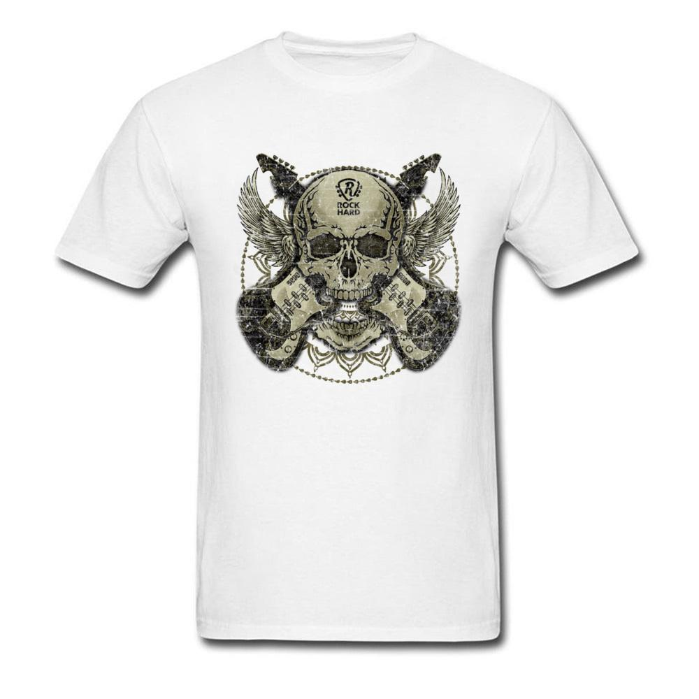 Tattoo Skull Guitar Wing T-Shirt Faddish Crew Neck Printed On Short Sleeve 100% Cotton Men's T Shirt Birthday Tee Shirt