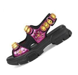 De Lujo Diseñador Deportivas Hombre Y Al Cuero Zapatillas Moda Diamantes Sandalias Para Marca Remachado Playa Ocio Mujer v0mN8wn