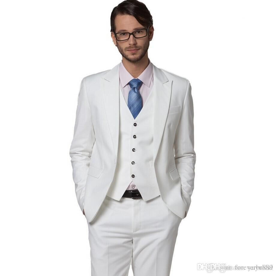 Classic White Men's Wedding Suits Three Pieces (Blazer+Pant+Vest) High Quality Bridegroom Tuxedos With Peaked Lapel For Sale