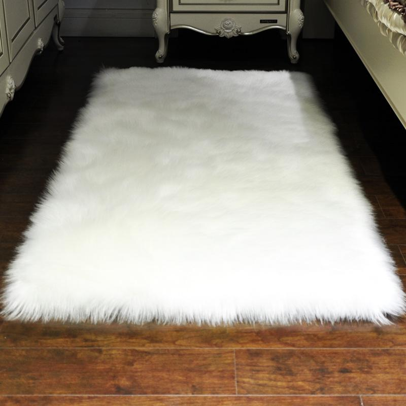 Luxury Rectangle Soft Sheepskin Fluffy Area Rug Faux White