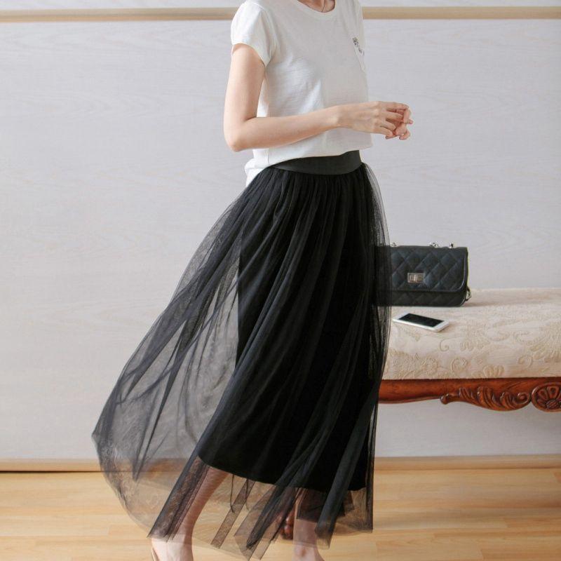 b58cd8b2bdf4fa Automne Hiver Vintage Maille Jupes Femmes Élastique Taille Haute Tulle  Maille Jupe Femme Longue Plissée Tutu Jupe Femme Jupe Longue
