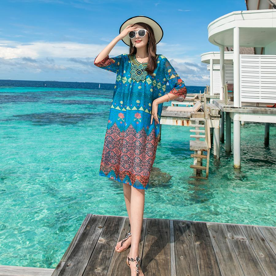 b4c5b66b6ab2 Summer Dress New Blue Bohemian Print Loose Casual Plus Size Midi Retro  Vintage Beach Holiday Vacation Women Dress 3046 Girls Party Dresses Evening  Gown From ...
