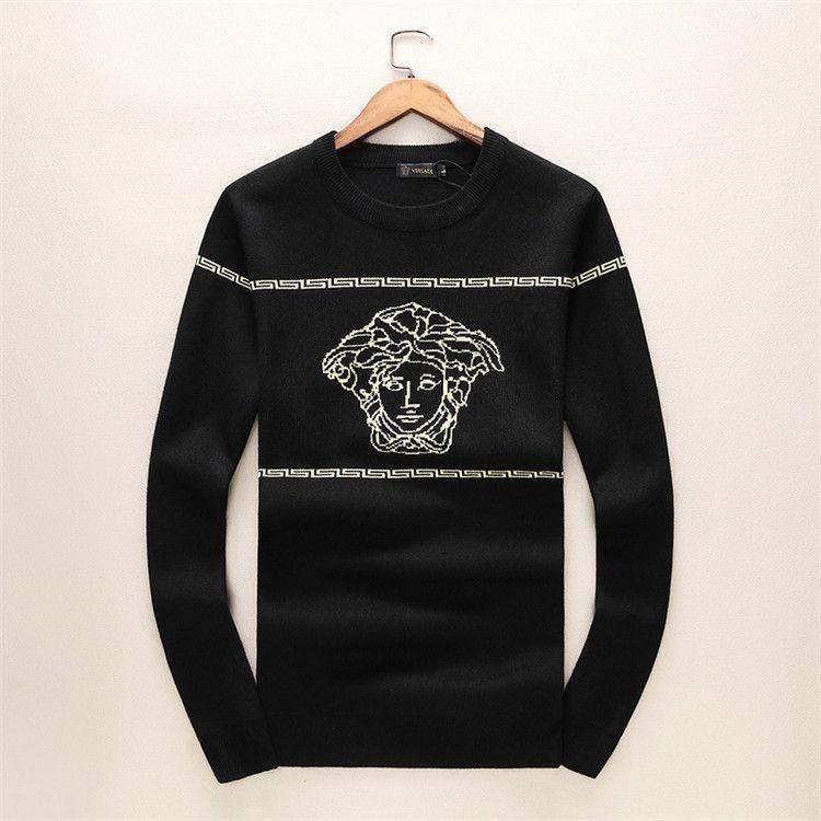 677e35b25b6 2018 Winter Fashion Trend Man Sweater Slim Geometric Printing Round ...