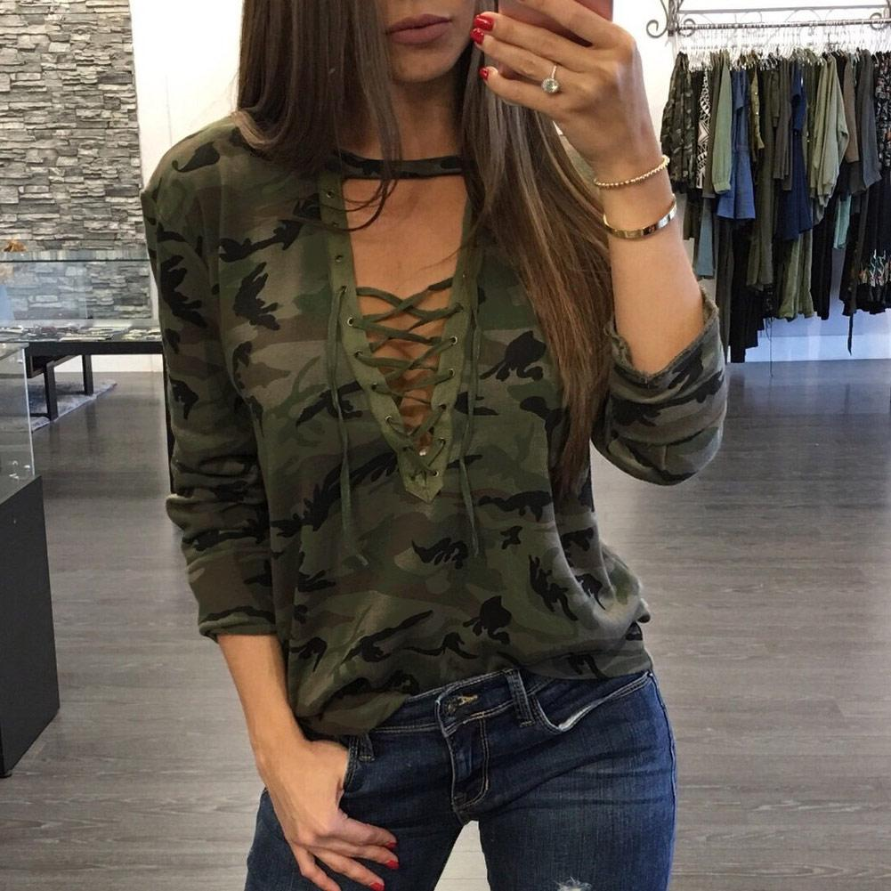 58422c4921c2f 2019 Fashion Women Camouflage Long Sleeve T Shirt Lace Up Neck Cross  Printed Sexy Slim T Shirt Tops Army Green Camisetas Mujer Clothes T Shirt  Crazy T ...
