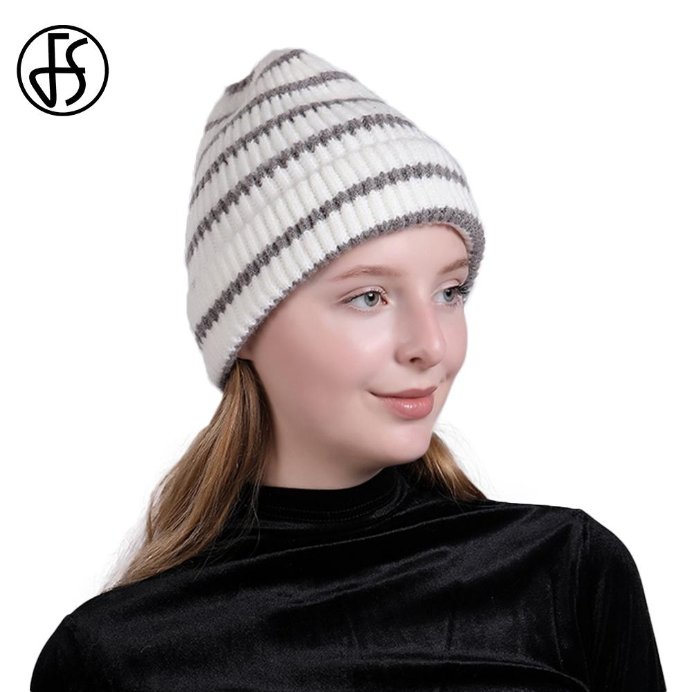50b7521f191 FS Gray Striped Cashmere Women Knit Hat Solid Casual Hip Hop Baggy Slouchy Skullies  Beanies Female Warm Stretch Ski Cap Gorros Trucker Hats Winter Hats From ...