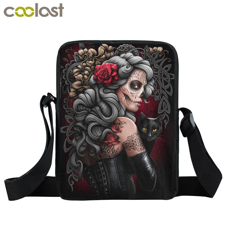 Designer Dark Gothic Bag Girls Boys Mini Messenger Bag Punk Women Handbags Grim Reaper Teenage Shoulder Bag Skull Crossbody Bags for Men
