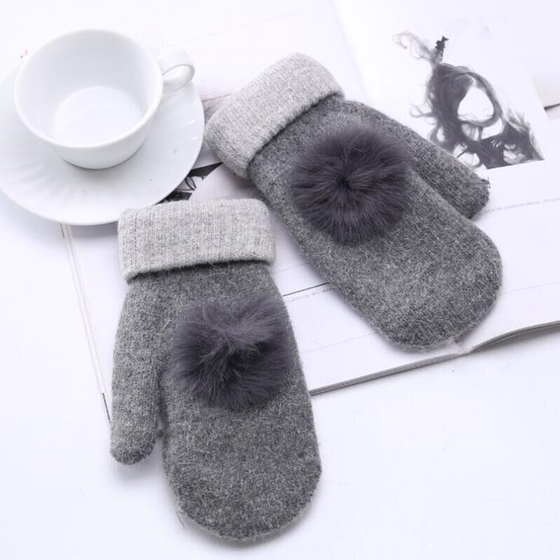 2018 New Winter Female Knitted Thick Cashmere Double Layer Wool Plush Warm Gloves Women Cute Full Fingers Gloves Mittens