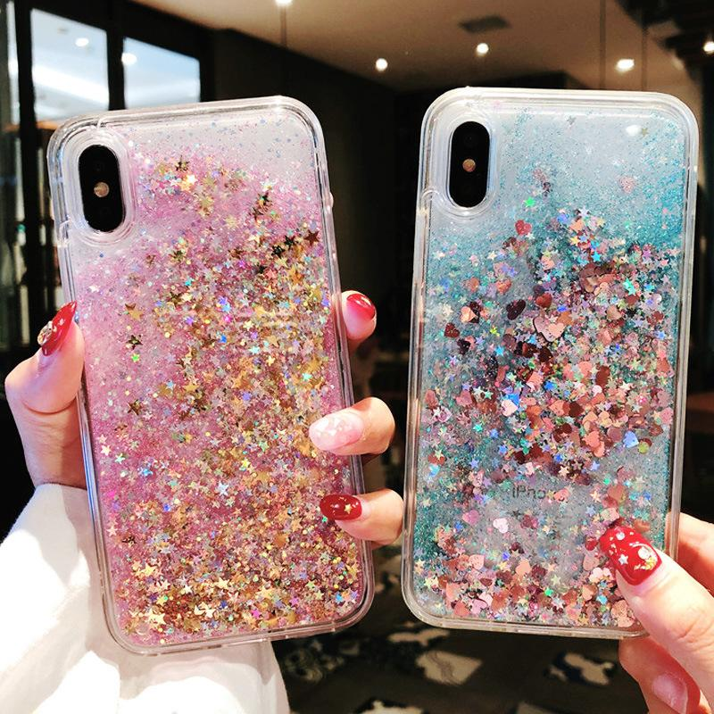 hot sale online 9ae52 2612f 2019 new trend TPU full package Apple quicksand mobile phone case safe and  durable sparkling shield for iPhone Xs 6s/7/8 plus Max X Xr