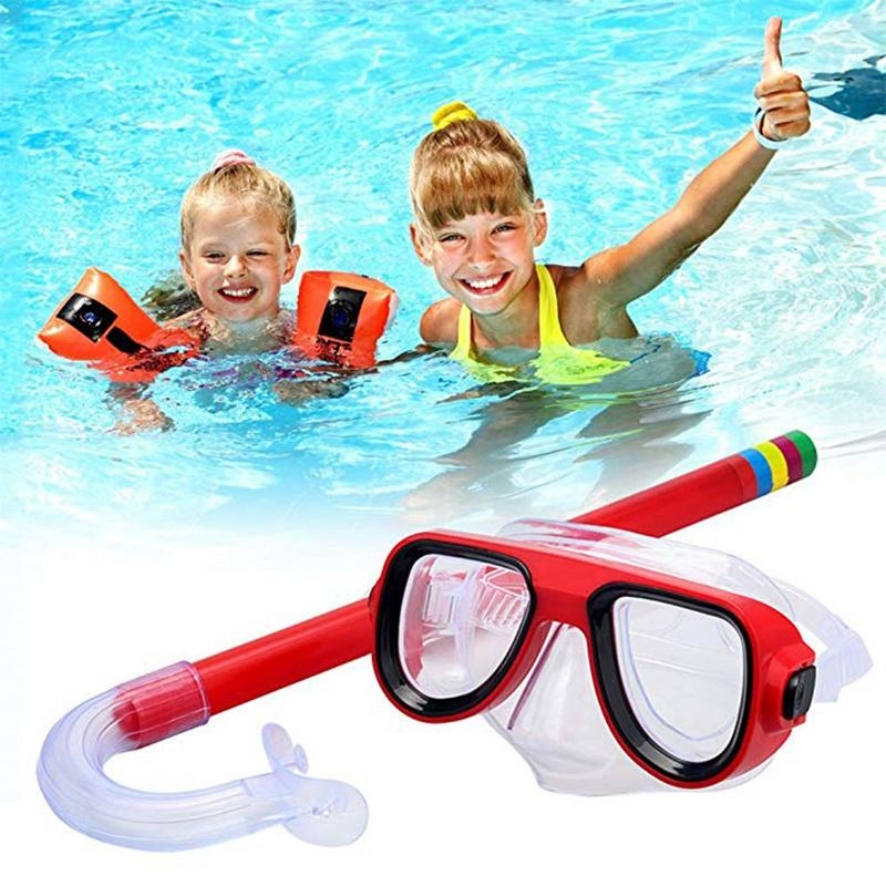 Kids Diving Goggle Mask Breathing Tube Shockproof Anti-fog Swimming Glasses Band Snorkeling Underwater Popular Set Suit