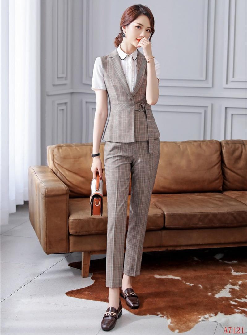 362ac4db9 Compre Trajes De Negocios Para Mujeres Formales Con Conjunto De Pantalón Y  Chaleco Ropa De Trabajo Chaleco Para Mujer Estilos De Uniforme De Oficina A  ...