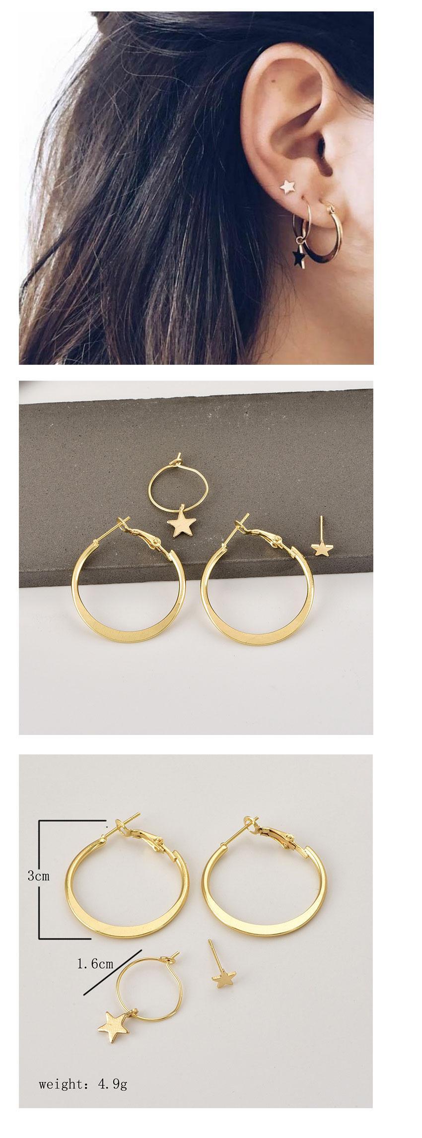 2018 Einfache Gold Star Ohrstecker für Frauen Ohrringe brincos Ohrringe Boucle d'oreille pendientes bijoux