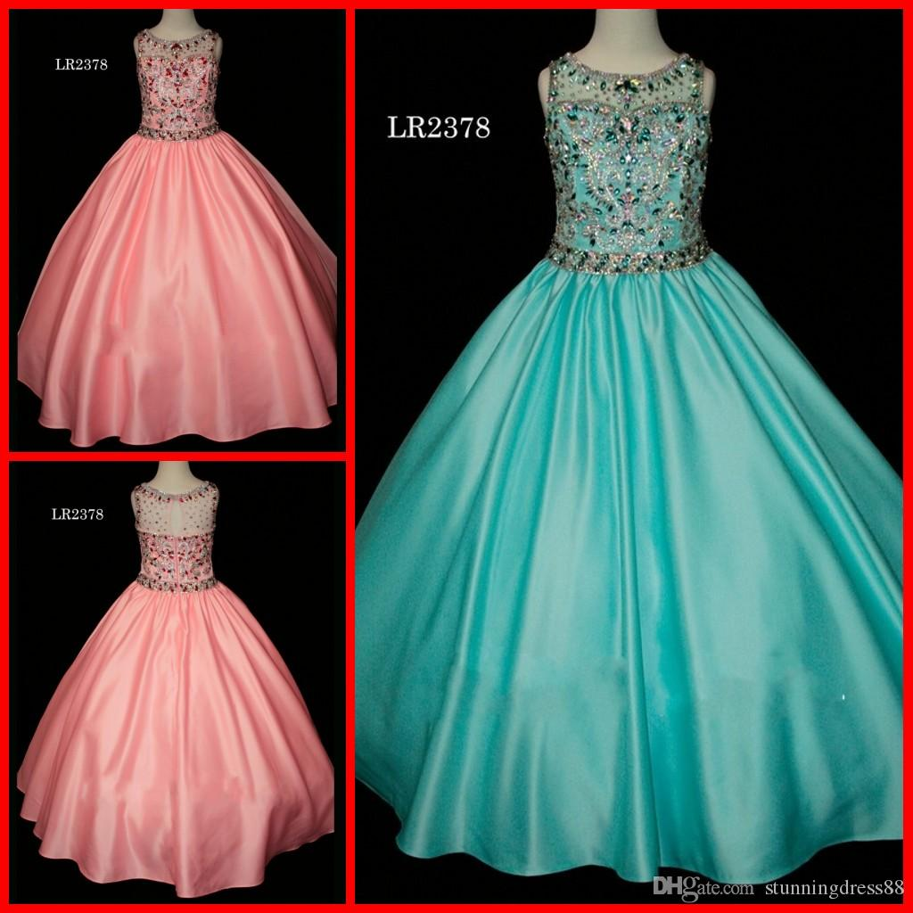 dc4a4dac364 Sparkly Coral Aqua Girls Pageant Dresses 2019 Ball Gown Satin Cap Short  Sleeves Rhinestones Beaded Designer Toddler Kids Flower Girls dress