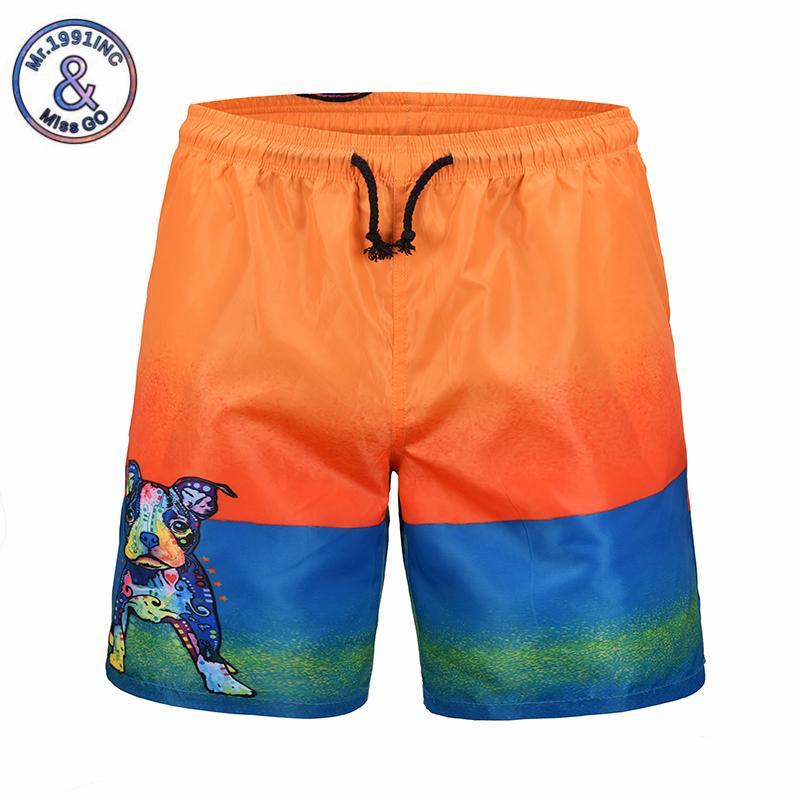 Compre Mr.1991INC 2018 Novo Mens Verão Board Shorts Moda Dos Desenhos  Animados Cão Impressão Praia Shorts Homens Casuais De Secagem Rápida  Bermuda De ... e1c66d8918d6a