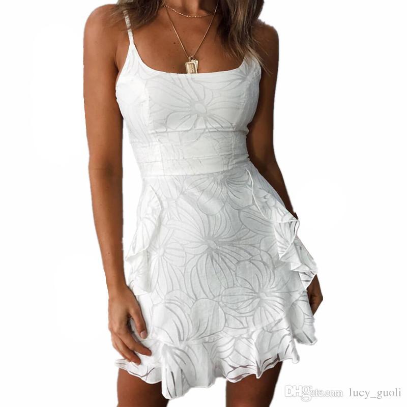buy popular f8bb8 1e0d4 Vestito di pizzo elegante senza spalline donne senza maniche stile estivo  abito bianco midi nuovo abito casual da sera corto a maniche corte