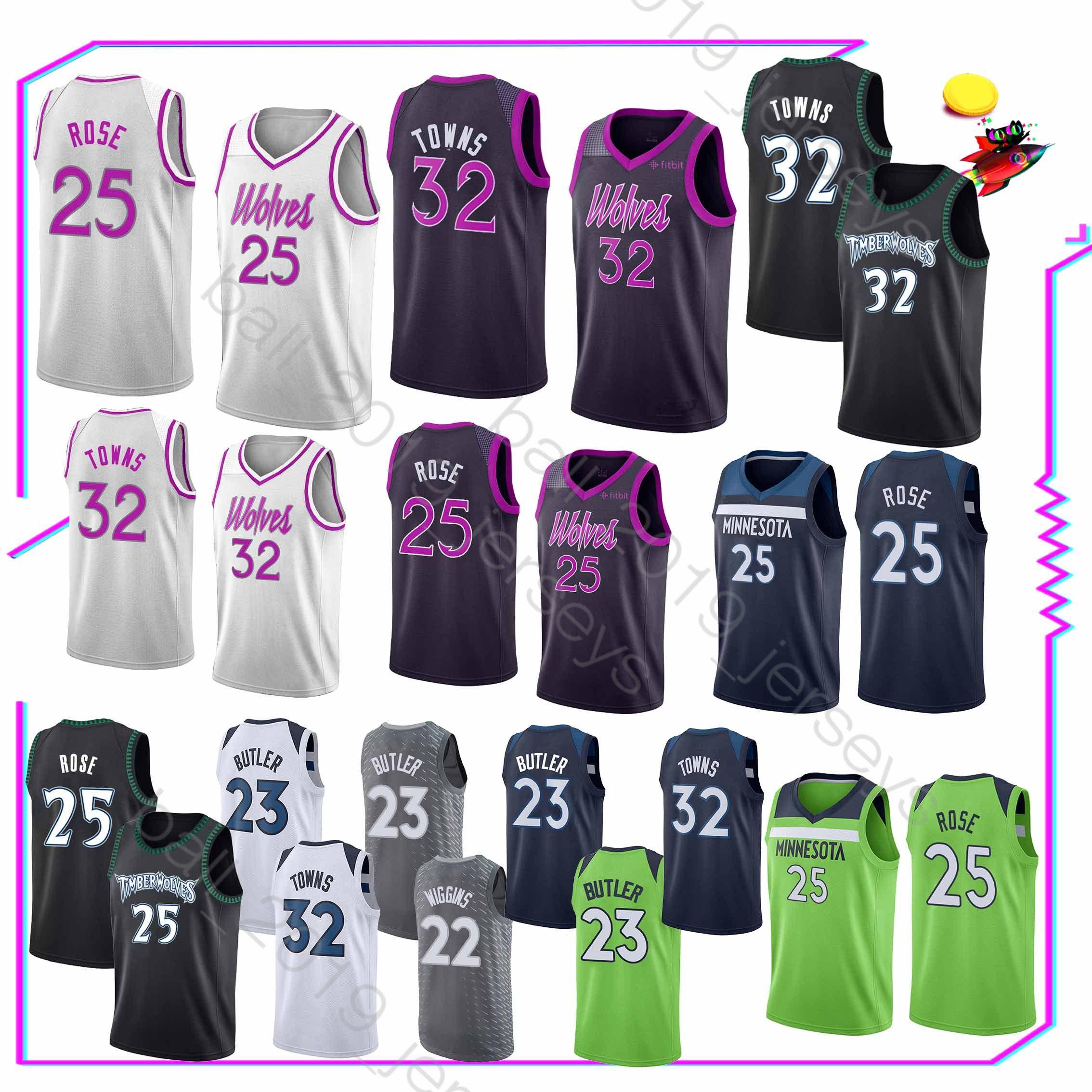 25 Rose jersey Timberwolves Jersey 32 Towns 22 Wiggins Jerseys 2019 new hot  sale Basketball T shirt