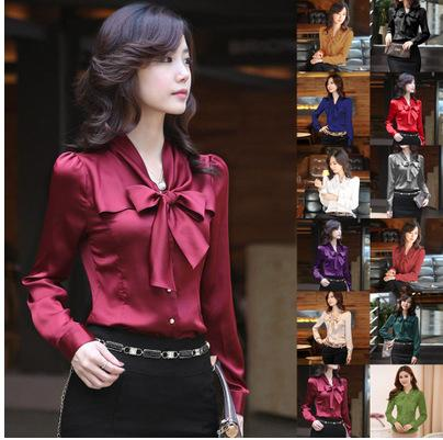 2019 Bowtie Design OL Shirt 2019 New Fashion Women Slim Career Tops Office  Lady Rayon Soft Blouses Solid Blusas From Cfdz 8f5cf6abca38