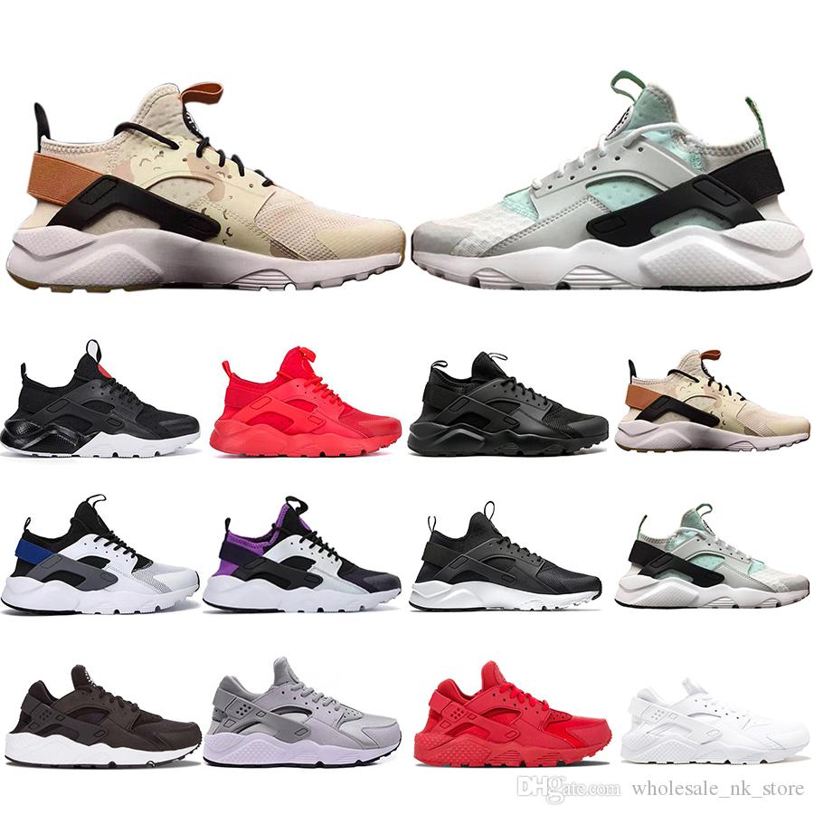 huge discount 42525 34f3d New Original Khaki Mint Green Huarache 4.0 1.0 Triple White Black red men  women Casual Shoes Huaraches Trainers sports Sneakers 36-45