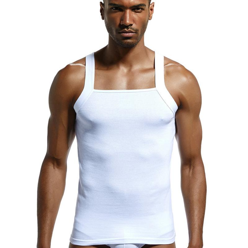 2a090a24099 2019 new Men s Fashion Vest Home Sleep Casual Men Colete Cotton Tank Top  Solid T-shirts Gay Sexy Top Clothes Sleeveless Garment