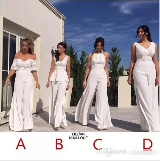 6cfa661358d2 2018 New Design Off Shoulder Lace Jumpsuit Bridesmaid Dresses Sweetheart  Neck Side Splits Formal Dress For Wedding Party Evening Gowns Chic  Bridesmaid ...