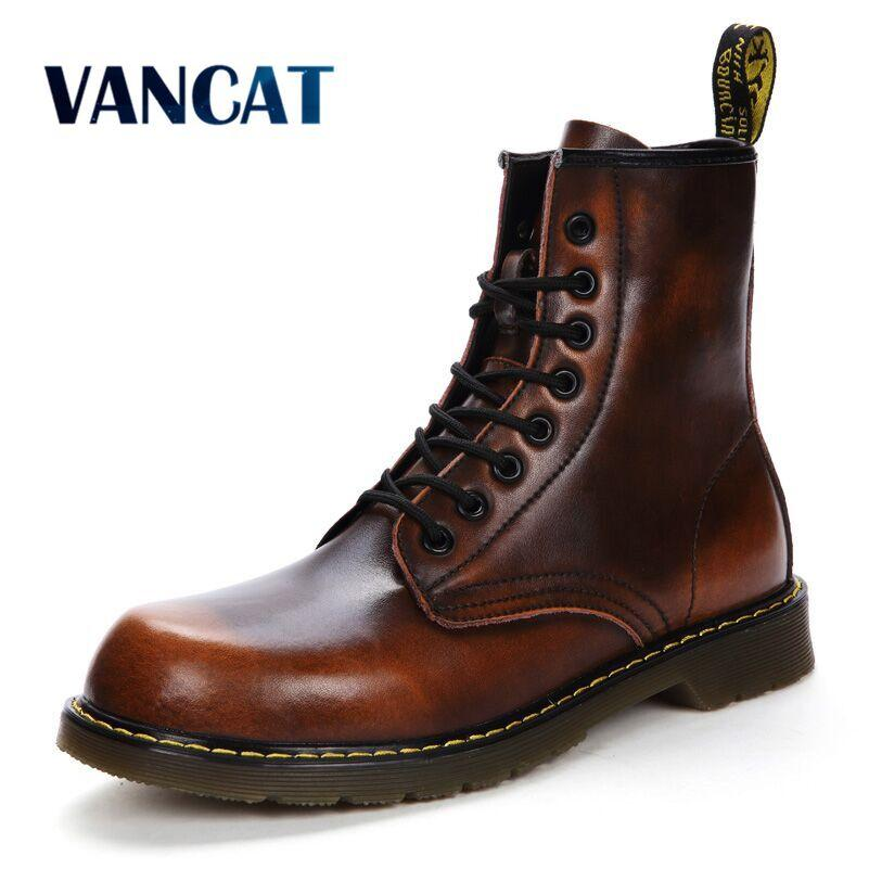 8c0c486217aec Vancat 2018 New Autumn Winter Cow Split Leather Men Boots Lace-Up ...