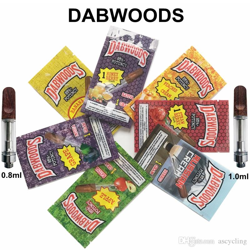 Wood Drip Tip Carts Dabwoods Vape Cartridges Packaging 1ml Ceramic Empty Oil Cartridge Dab Pen Wax Vaporizer 510 Thread Battery E Cigarette
