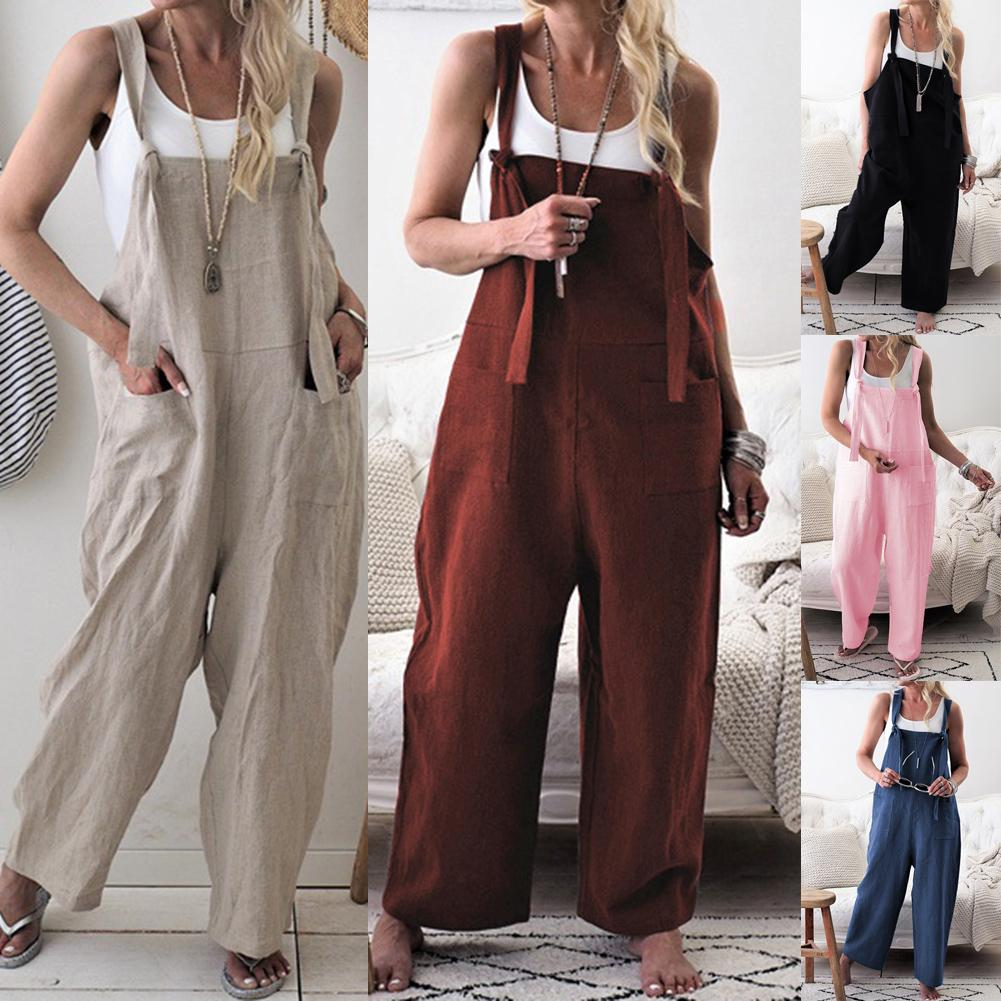 c0e07684e3 2019 2019 Spring Autumn Women Sleeveless Jumpsuits Casual Loose Overall  Female Long Straight Jumpsuit New Fashion Solid Lady Rompers From Nobackie