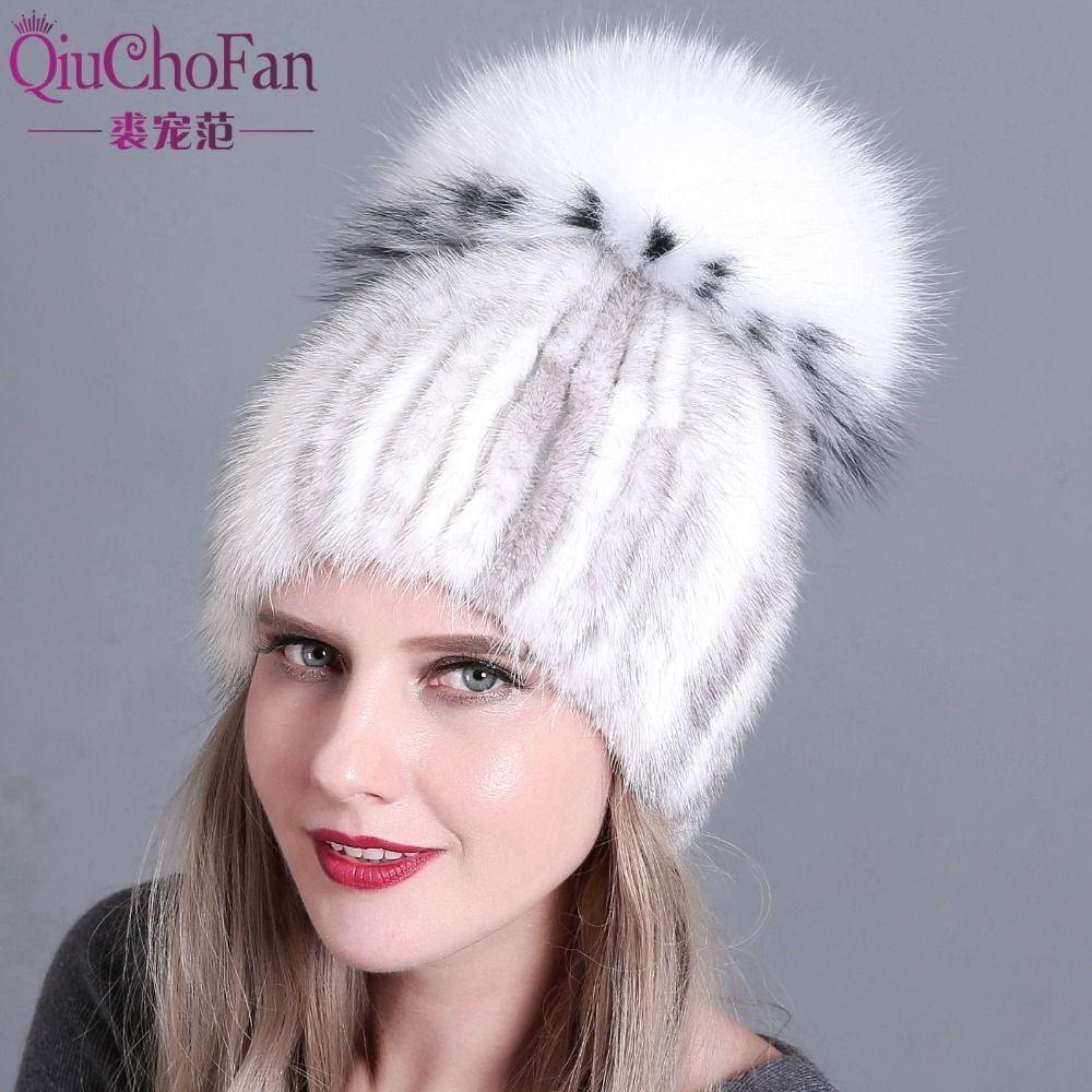 beb02aa35c318 Women Knitted Mink Fur Hat Styles Female Fur Cap With Fox Fur Pompom Lining Women  Winter Headwear Girls Hats For Beanies D19011503 Beanie Kids Skull Caps ...