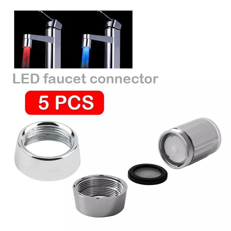 5pcs/pack ABS Garden Faucet Adapter Kitchen Sink Faucet Diverter Valve  Adapter Practical Water Tap Hose LED Water