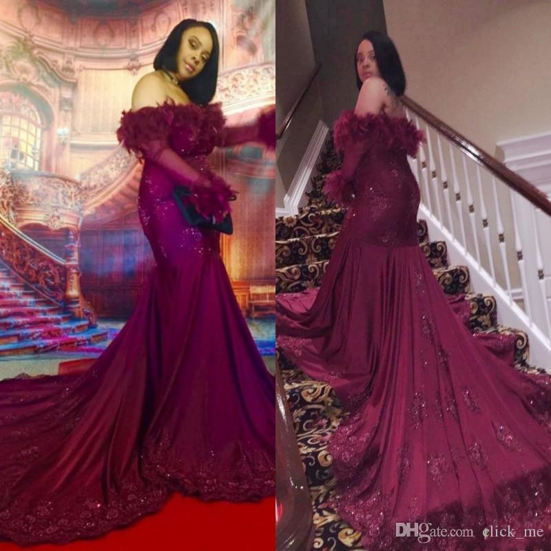419cf7b66681 Sexy Long Sleeves Evening Dress Long Appliques Beads Off The Shoulder 2K19  Mermaid Prom Dress Long Train Feather Celebrity Party Dress Purple Evening  Dress ...