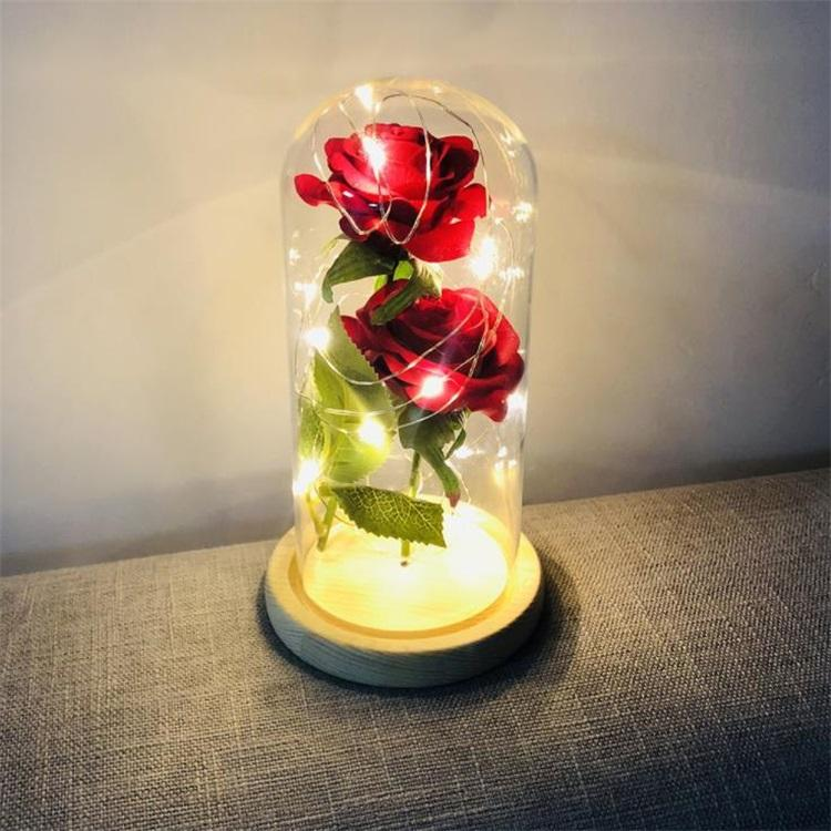 2 colors simulation feel LED Rose Flower glass cover Valentine's Day gift Eternal Love rose decoration ornaments Novelty Items T8I060